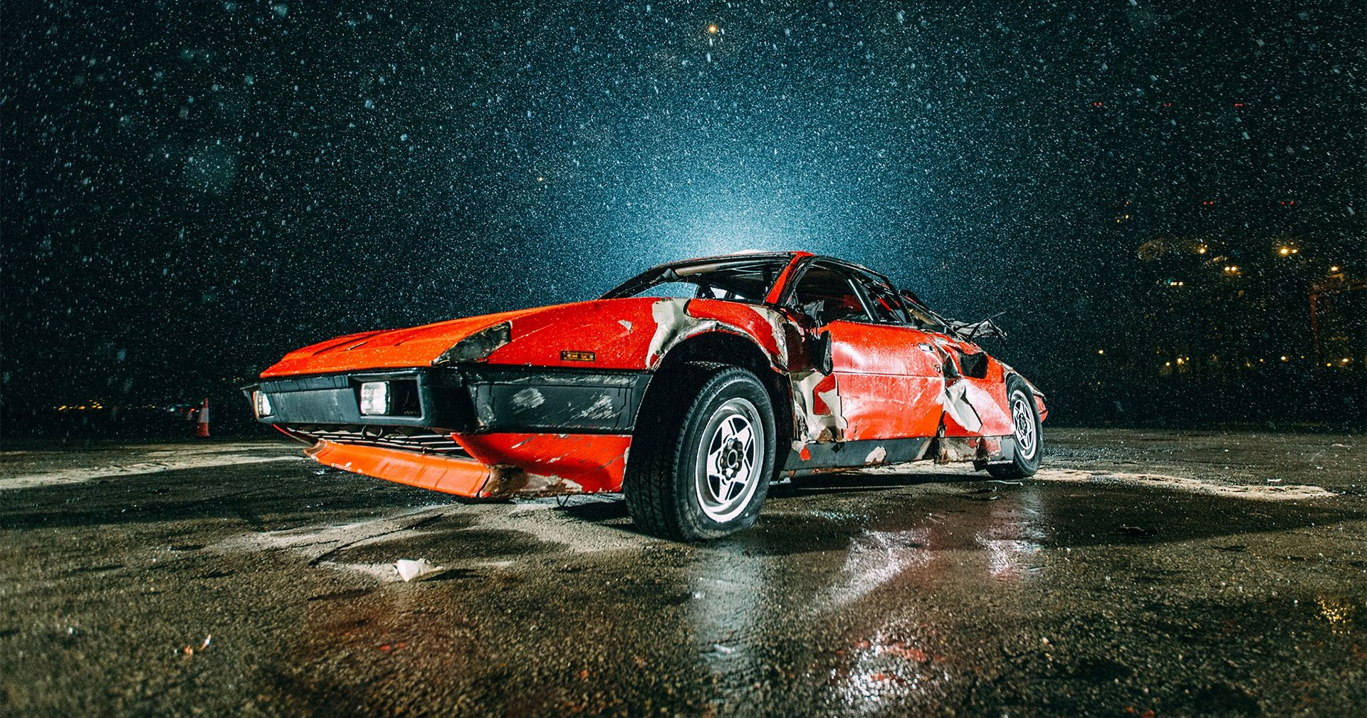 Simon Birch, artist, starving artist, car crash, art installation, car roll, Ferrari, Ferrari Mondial, Italian car, super car, supercar, classic car, retro car, rare car, motoring, automotive, car, cars