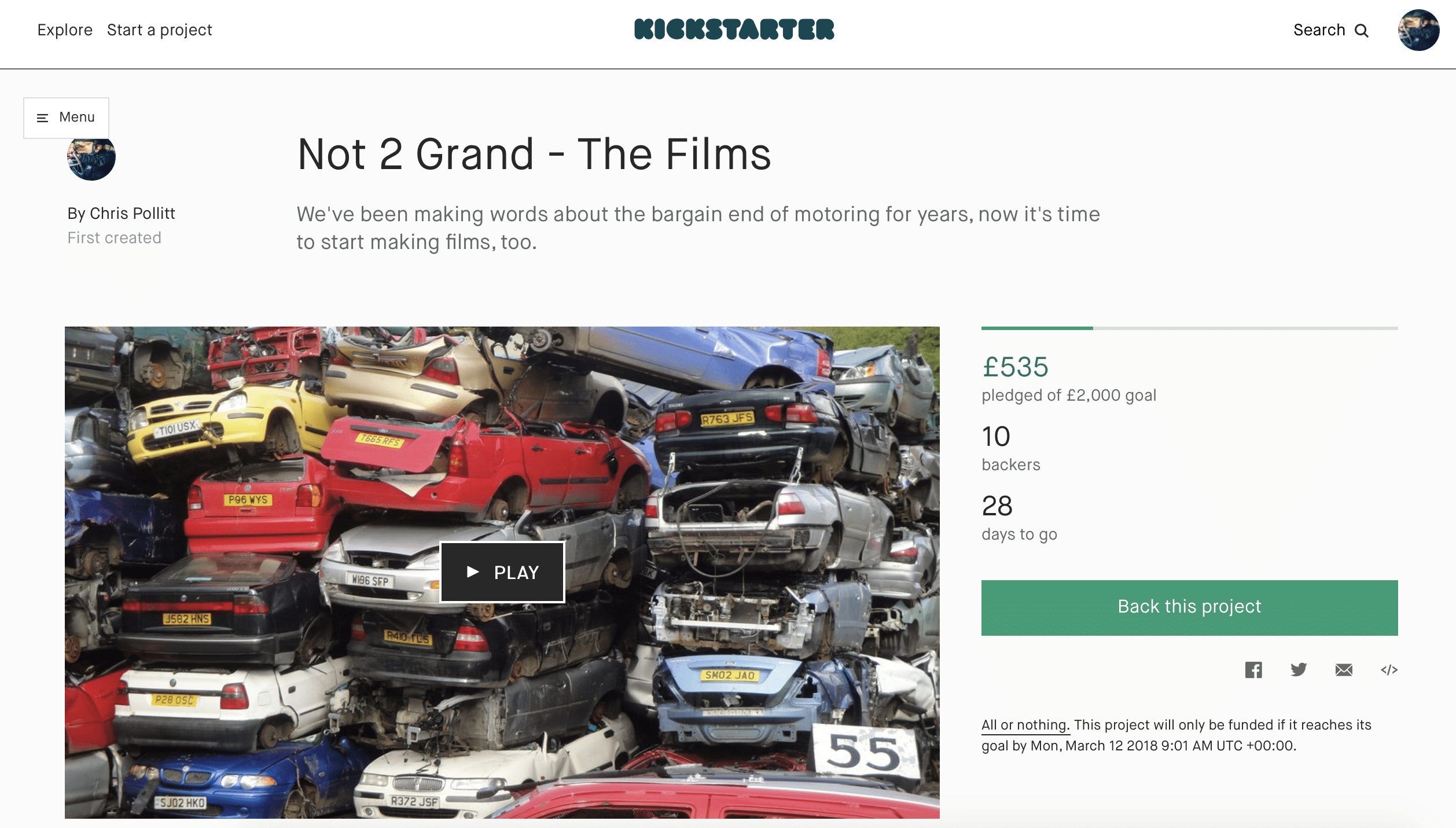 not2grand, kickstarter, car films, roadkill, motoring, automotive, classic car, retro car, car TV, featured