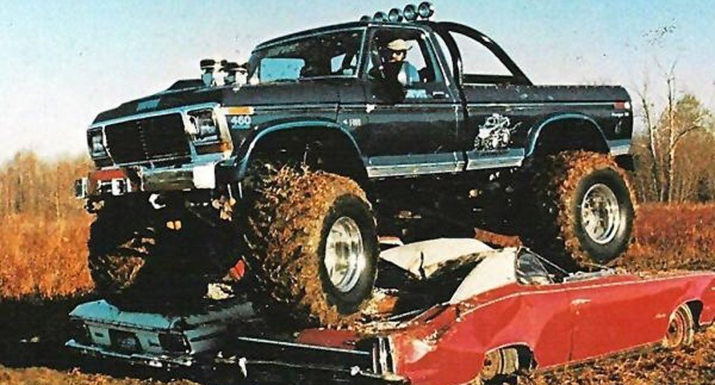 Bigfoot, Bob Chandler, monster truck monster jam, carolina crusher, bearfoot, grave digger, v8, usa 1, aces high, skoal bandit, American, motoring, automotive, classic ca, retro car, pickup truck, car crushing, classic car, retro car, Adrian Flux, not 2 grand, www.not2grand.co.uk, ebay, ebay motors, autotrader, featured